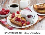sweet toasts with raspberry ... | Shutterstock . vector #317096222