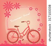 bicycle on a summer field.... | Shutterstock .eps vector #317103338
