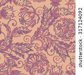 vintage flowers seamless... | Shutterstock .eps vector #317124092