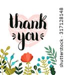 thank you card. hand drawn... | Shutterstock . vector #317128148