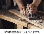Close Up Of A Carpenter Planin...