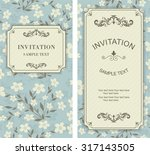 set of vintage invitation cards ... | Shutterstock .eps vector #317143505
