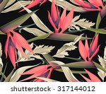 seamless tropical flower  plant ... | Shutterstock . vector #317144012