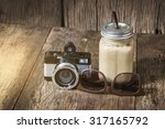 iced coffee with milk in...   Shutterstock . vector #317165792