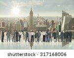 rear view of multiethnic... | Shutterstock . vector #317168006