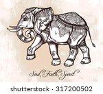 hand drawn ornate elephant. ...   Shutterstock .eps vector #317200502
