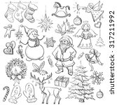 hand drawn christmas and new... | Shutterstock .eps vector #317211992