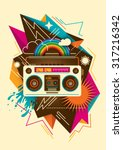 colorful abstraction with radio.... | Shutterstock .eps vector #317216342