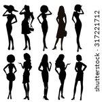 silhouette girls | Shutterstock .eps vector #317221712