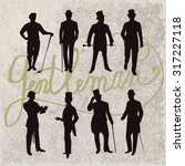 set of male silhouettes... | Shutterstock .eps vector #317227118