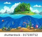 cartoon underwater world with... | Shutterstock .eps vector #317230712