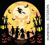 retro happy halloween  vector... | Shutterstock .eps vector #317233196