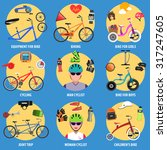 bicycle decorative icons set... | Shutterstock .eps vector #317247605