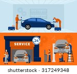 auto mechanic garage service  2 ... | Shutterstock .eps vector #317249348