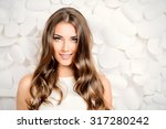 beautiful tender woman in white ... | Shutterstock . vector #317280242