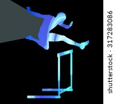 athlete jumping hurdle  man... | Shutterstock .eps vector #317283086