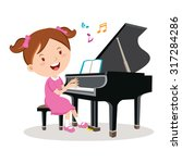 little girl playing piano.... | Shutterstock .eps vector #317284286