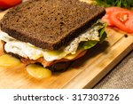 sandwich with fried bacon ... | Shutterstock . vector #317303726