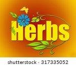 herbs on orange background. | Shutterstock . vector #317335052
