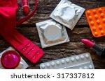 bra lipstick and contraception | Shutterstock . vector #317337812