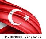 turkey  flag of silk with... | Shutterstock . vector #317341478