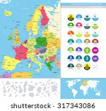 europe detailed political map... | Shutterstock .eps vector #317343086