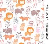 Cute Animals Seamless Pattern...