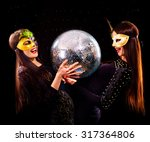 happy lesbians women dancing on ... | Shutterstock . vector #317364806