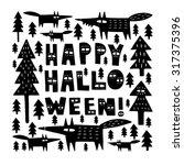 hand drawn halloween card... | Shutterstock .eps vector #317375396