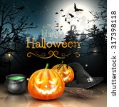 halloween decorations in spooky ... | Shutterstock .eps vector #317398118