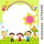 cute frame with kids | Shutterstock .eps vector #317424482