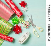 christmas gift wrapping party... | Shutterstock . vector #317445812