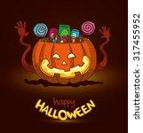 halloween happy pumpkin basket... | Shutterstock .eps vector #317455952