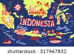 illustrated map of indonesia | Shutterstock .eps vector #317467832