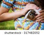 little girl lying on grass and... | Shutterstock . vector #317482052