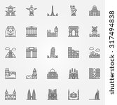 popular travel landmarks icons  ... | Shutterstock .eps vector #317494838