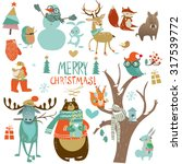 christmas set with wild animals | Shutterstock .eps vector #317539772