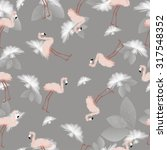 flamingo pattern with floral... | Shutterstock .eps vector #317548352