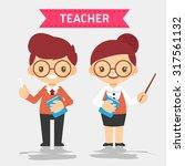 cute teacher  vector... | Shutterstock .eps vector #317561132