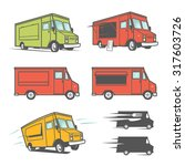 set of food trucks from various ... | Shutterstock .eps vector #317603726