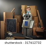 a science student is inventing... | Shutterstock . vector #317612732