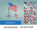 isometric world flags set | Shutterstock .eps vector #317617535