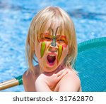 girl with paint on his face in... | Shutterstock . vector #31762870