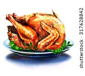 whole christmas dinner turkey... | Shutterstock . vector #317628842