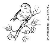 Sketch Of Bird Sitting On A...