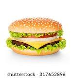 Hamburger Isolated On White...