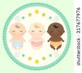 multicultural babies sleeping.  | Shutterstock .eps vector #317677976