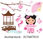 lotus flower princess  kokeshi... | Shutterstock .eps vector #317687015