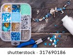 box with beads  spool of thread ... | Shutterstock . vector #317690186