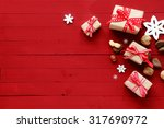 festive red christmas card... | Shutterstock . vector #317690972